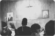 Praising at church.